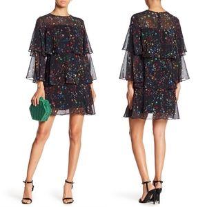 Monique Lhuillier $395 Floral Print Ruffled Dress